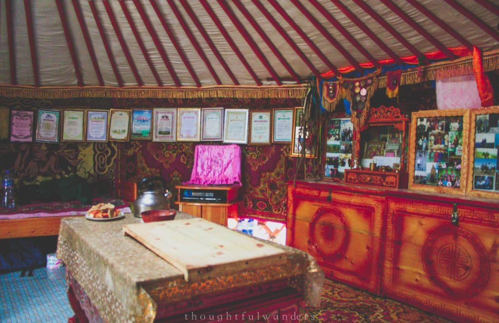 Mongolian homestay yurt ger interior