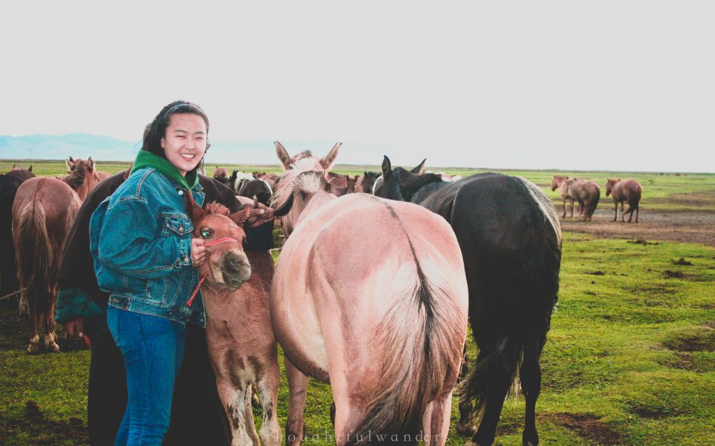 Asian woman posing next to horses in Mongolia