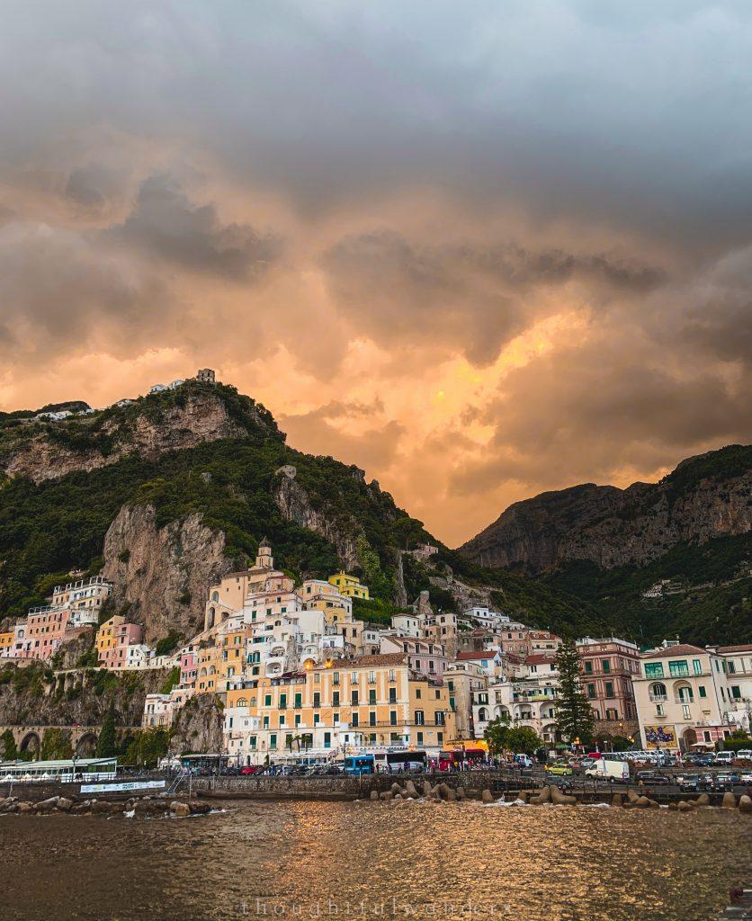 Orange sunset Amalfi town