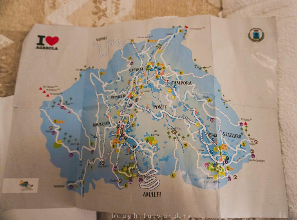 Paper map of the Amalfi Coast