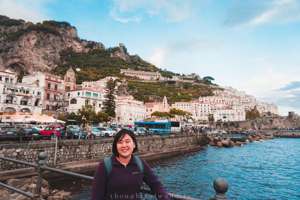 Asian woman smiling at camera in Amalfi Amalfi Coast Italy