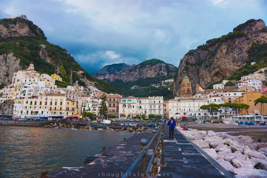 A view of Amalfi town from the harbor