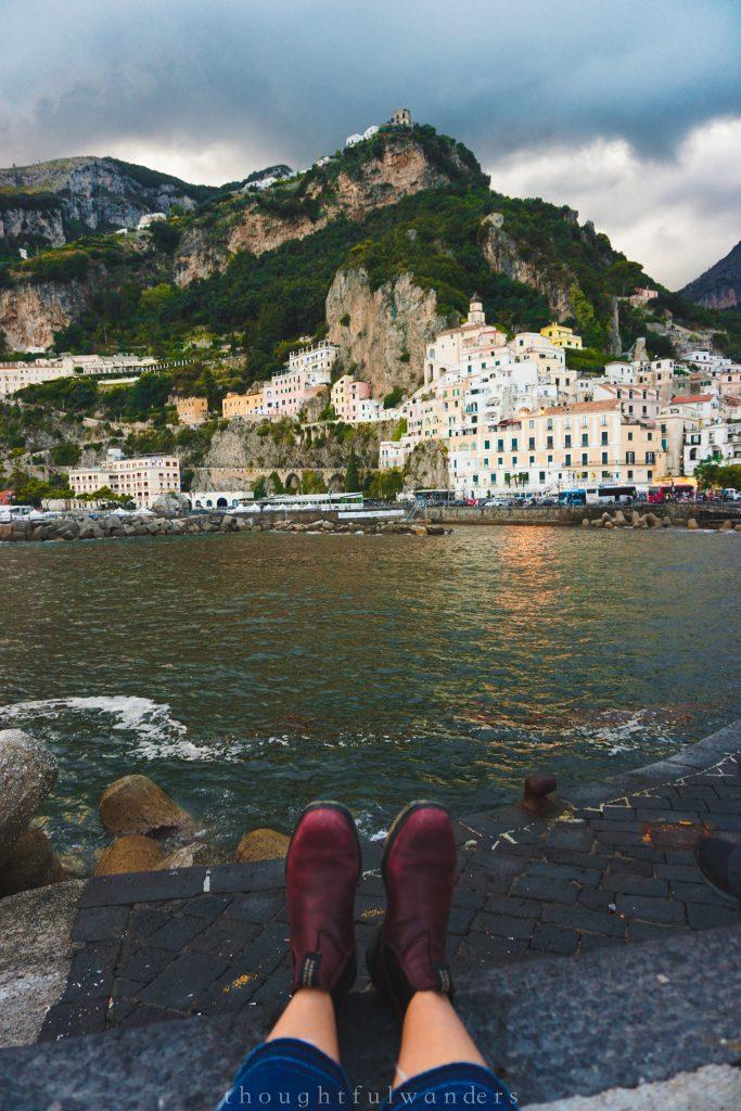 Red boots Amalfi Town Amalfi Coast