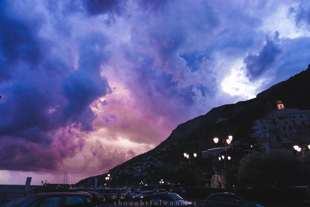 Purple orange dramatic sunset in Amamalfi