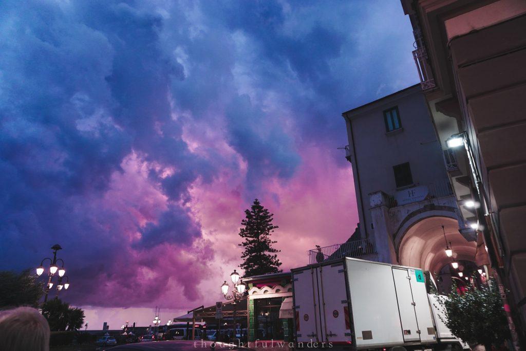 Beautiful multicolored sunset in Amalfi