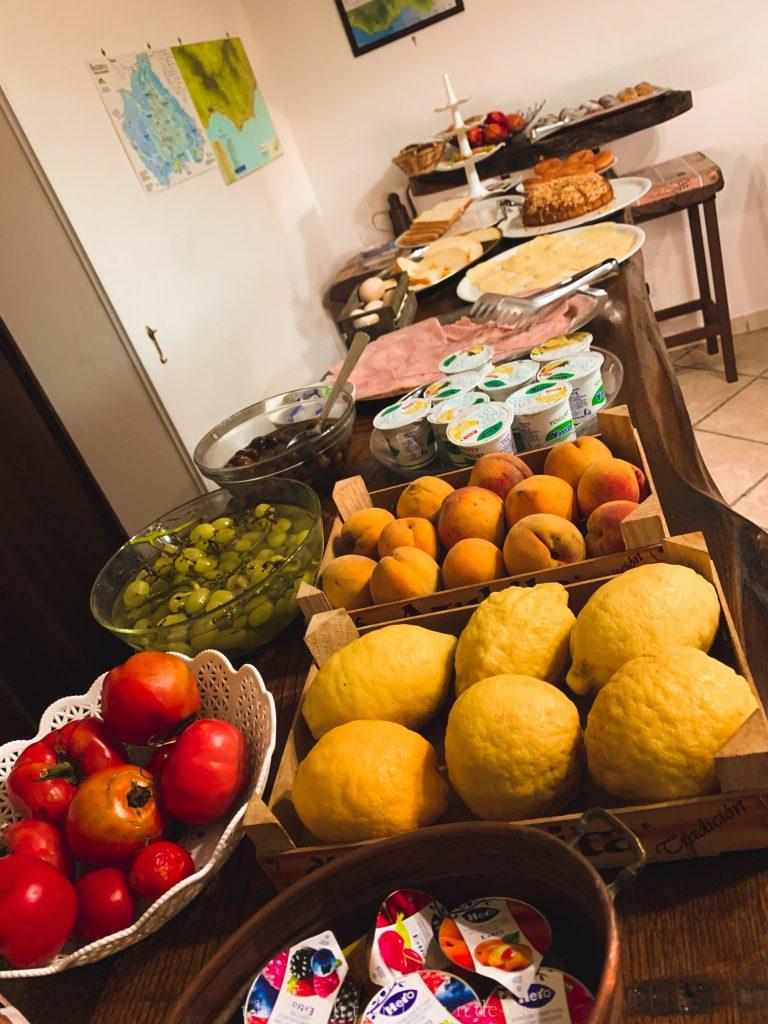 Italian breakfast spread at bed and breakfast in Bomeranoomerano