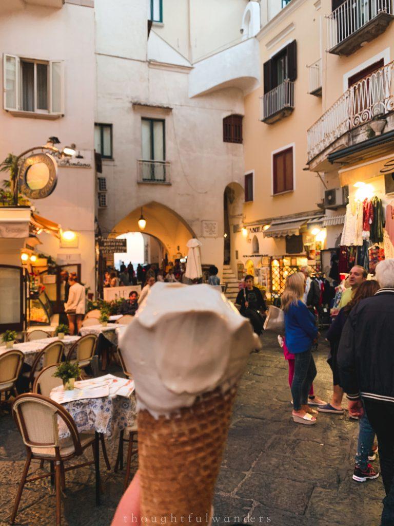 Amalfi town gelato ice cream in the town square