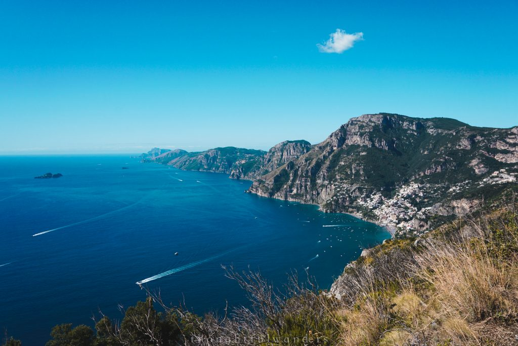 Path of Gods hike view of Mediterranean ocean and Positano in the distance