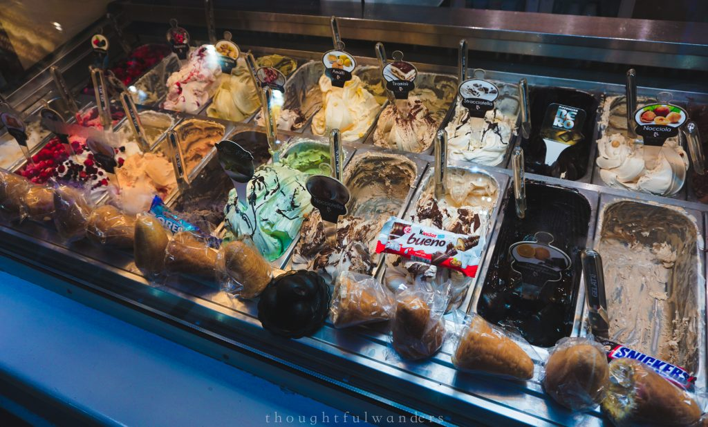 gelato selection gelataria Amalfi Coast