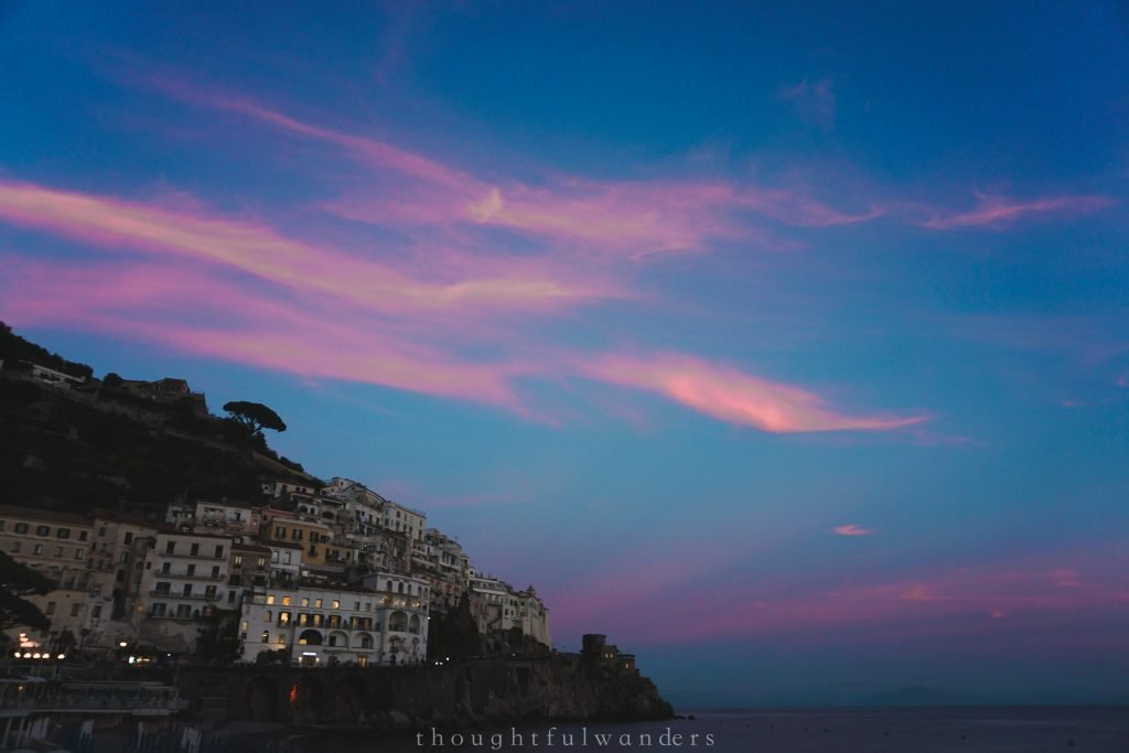 Blue and pink sky sunset Amalfi Townown