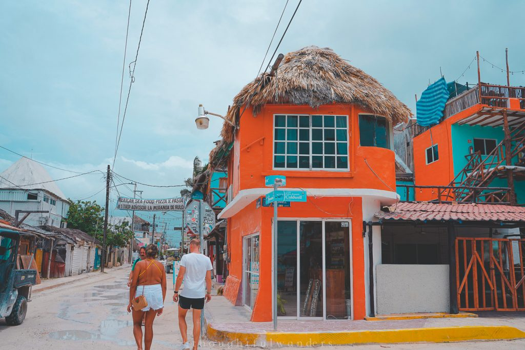Holbox town center where restaurants are located