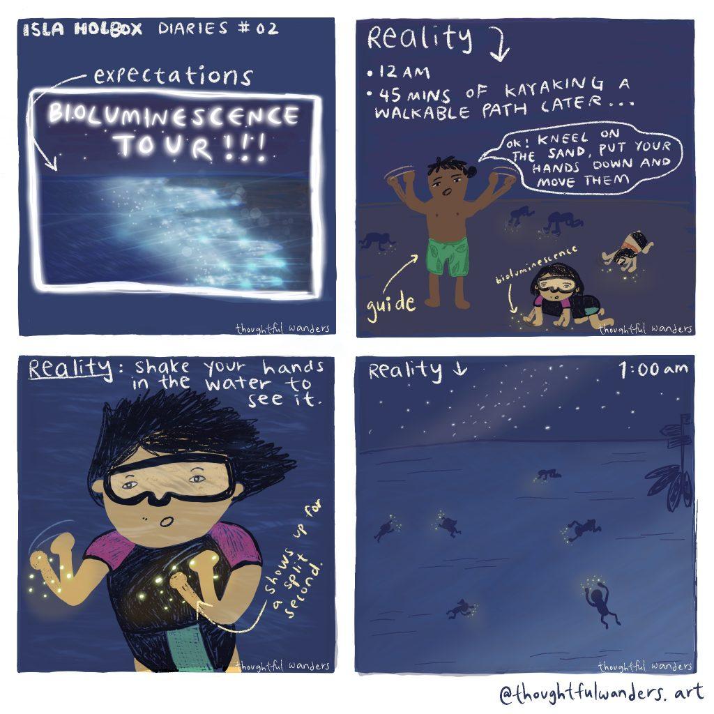 Comic on bioluminescence tour expectations vs reality
