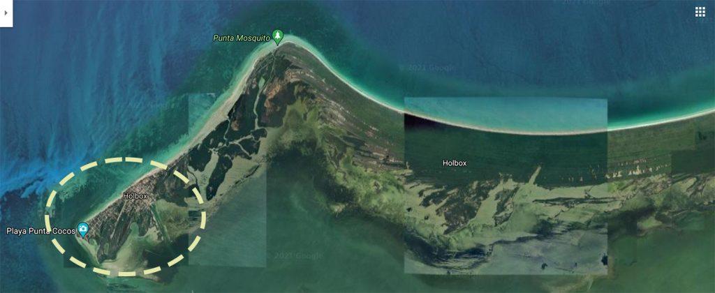 Isla Holbox google maps satellite map