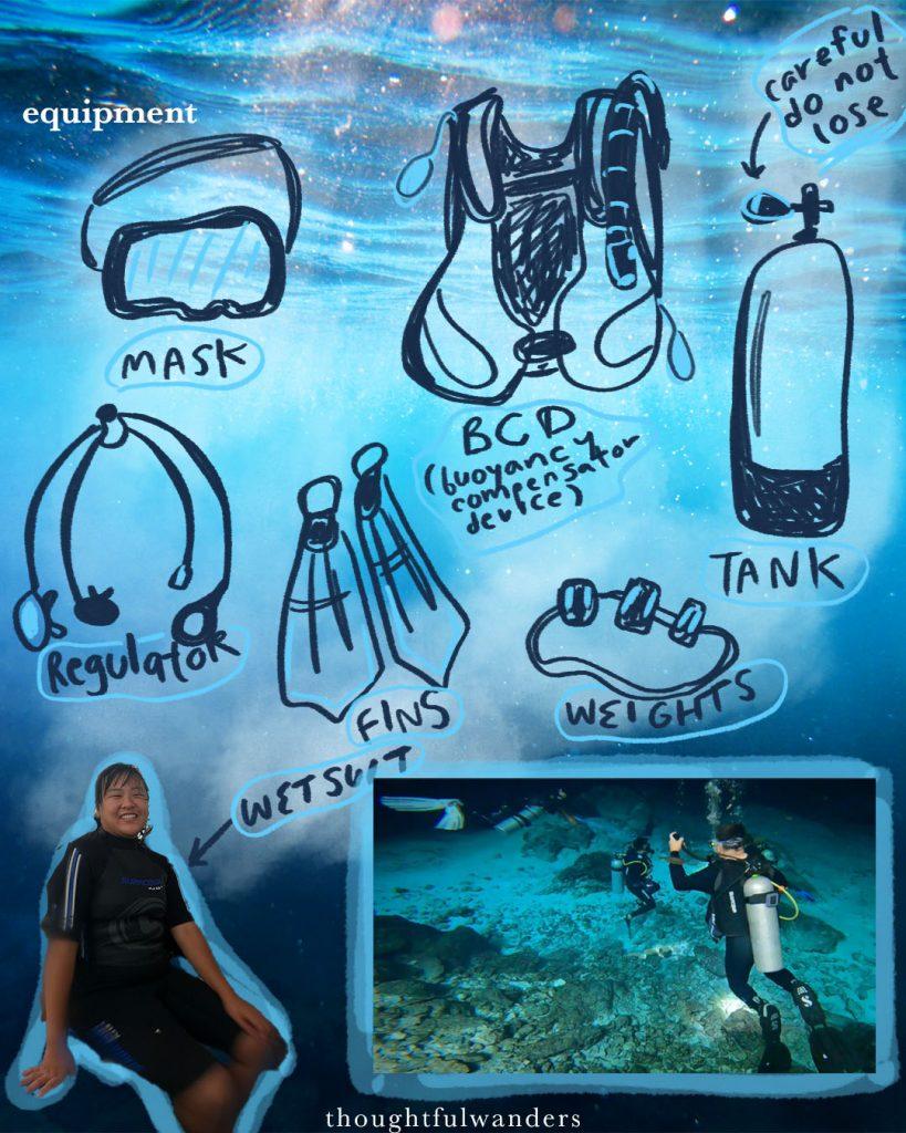 Illustrations on all the basic scuba diving equipment