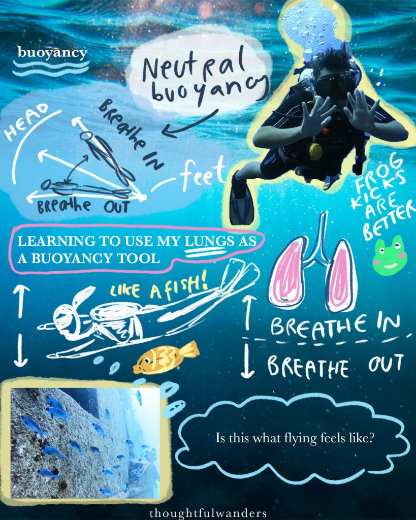 Neutral buoyancy and lessons around learning how to use my lungs as a buoyancy tool