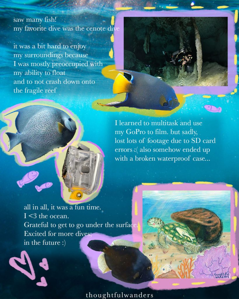 Collage illustration about love for the ocean and love for scuba diving