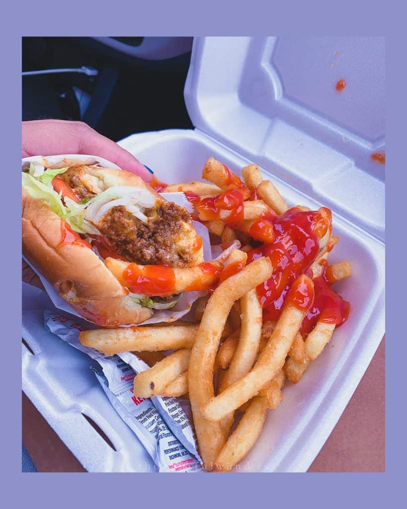 A burger with fries loaded in ketchup in a take out box with person holding burger. Photo has lilac borders.